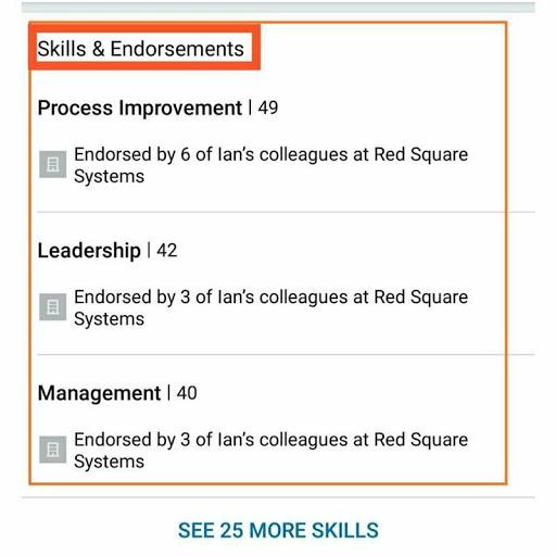 skills and endorsements