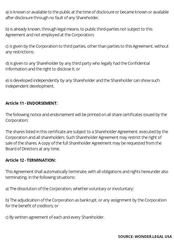 Shareholder Agreement Template article 11