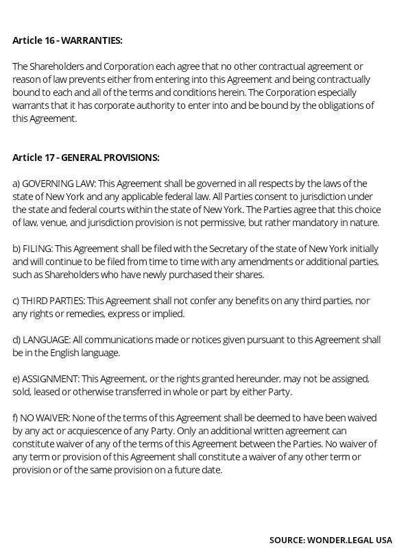 Shareholder Agreement Template article 16