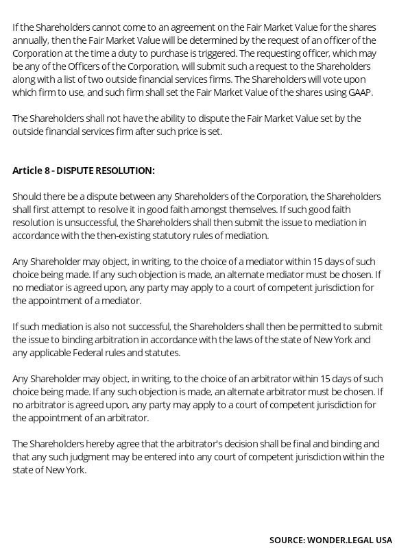 Shareholder Agreement Template article 8