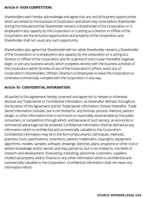 Shareholder Agreement Template article 9